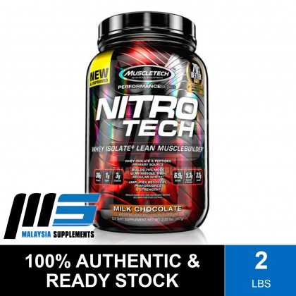 MuscleTech Nitro Tech, 2lbs - Whey Protein Isolate, Fast Muscle Recovery, Lean Muscle, Susu Gym
