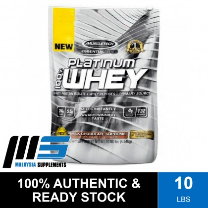 MuscleTech Platinum 100% Whey, 10lbs - Whey Protein Isolate, Fast Muscle Recovery, Lean Muscle, Susu Gym