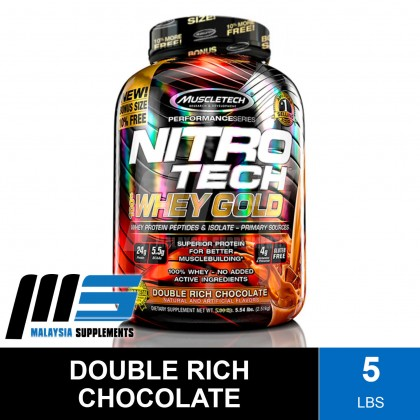 MuscleTech Nitro Tech 100% Whey Gold 5.5lbs - Muscle Tech NitroTech Protein Isolate, Whey Protein Powder, Lean Muscle