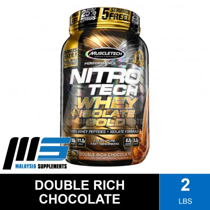 MuscleTech Nitro Tech Whey Plus Isolate Gold, 2lbs - Whey Protein Isolate, Fast Muscle Recovery, Lean Muscle, Susu Gym